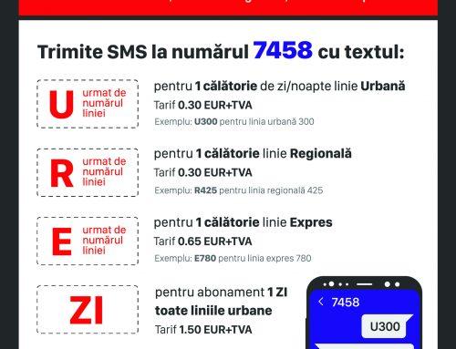 Plata prin SMS a calatoriei cu mijloacele STV SA si STB SA